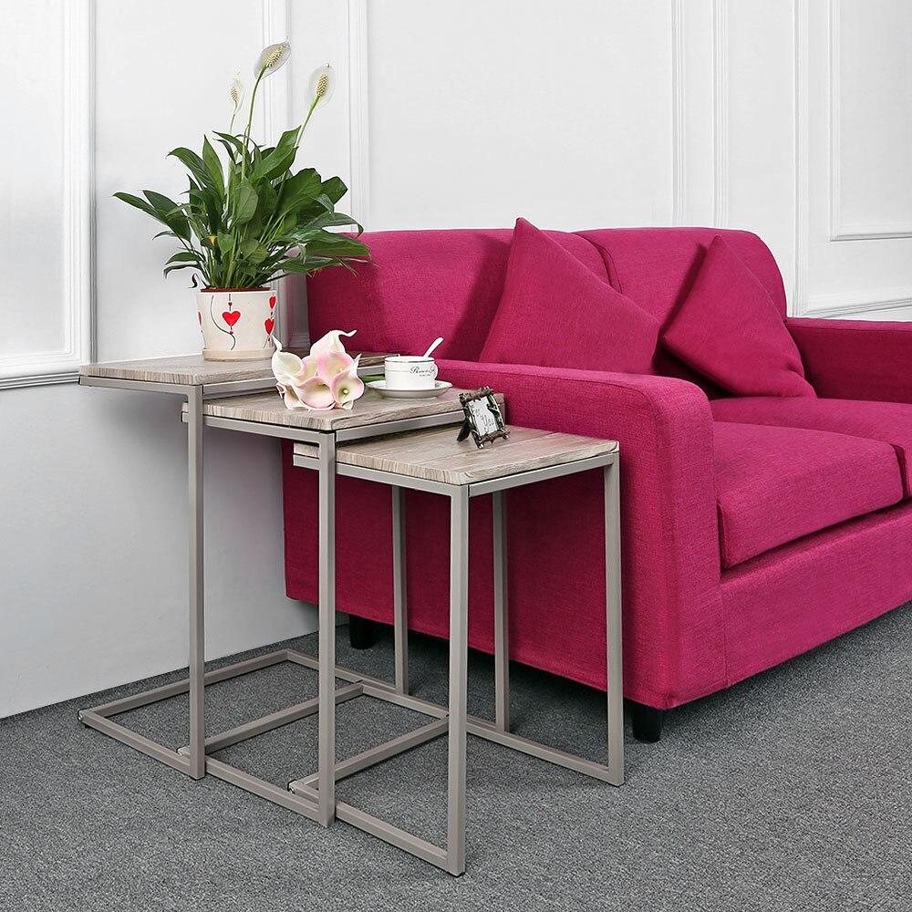 Mesas de café 3 unids mesas de metal set sofá Sala lado minimalista ...