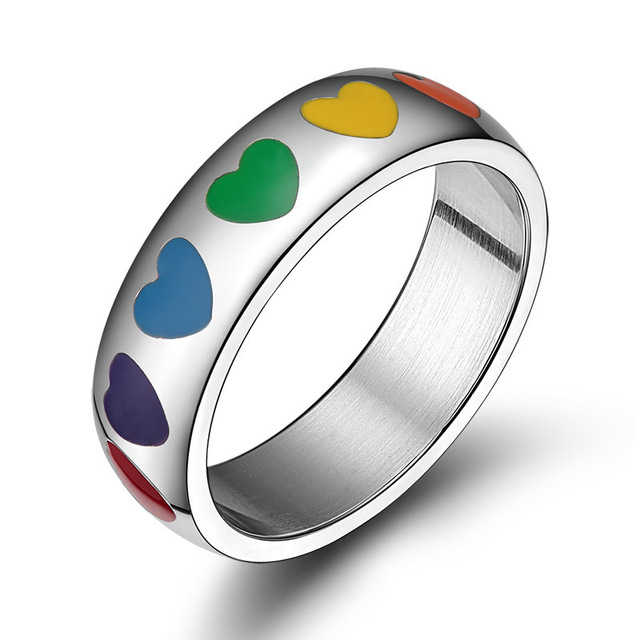 Enamel Heart Rainbow Ring Stainless Steel Love Engagement Ring  For Mens And Womens Jewelry