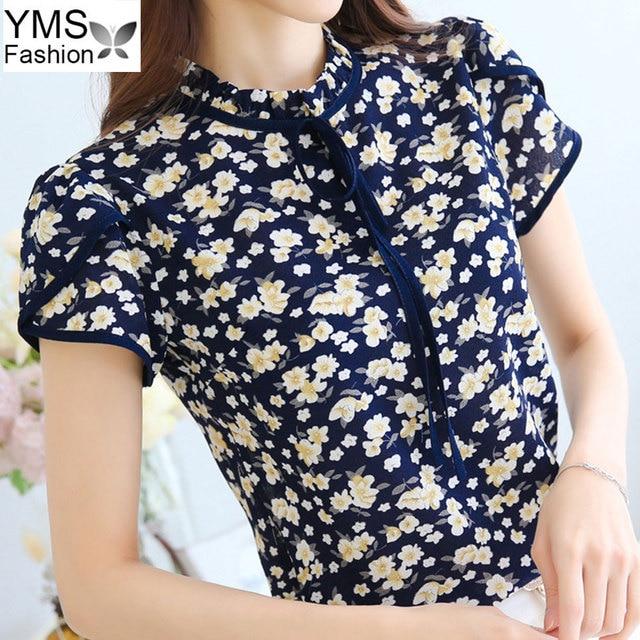 d0f4701d89811 2018 Women Summer Tops Chiffon Blouses And Shirts Ladies Floral Printed  Blouse Shirts Korean Fashion Plus Size Tops XXXL