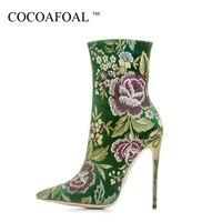 Cocoafoal женщина вышивает Ботинки Челси модные, пикантные 12 см Обувь на высоких каблуках синий зеленый плюс Размеры Большие размеры 33–43 ботинк
