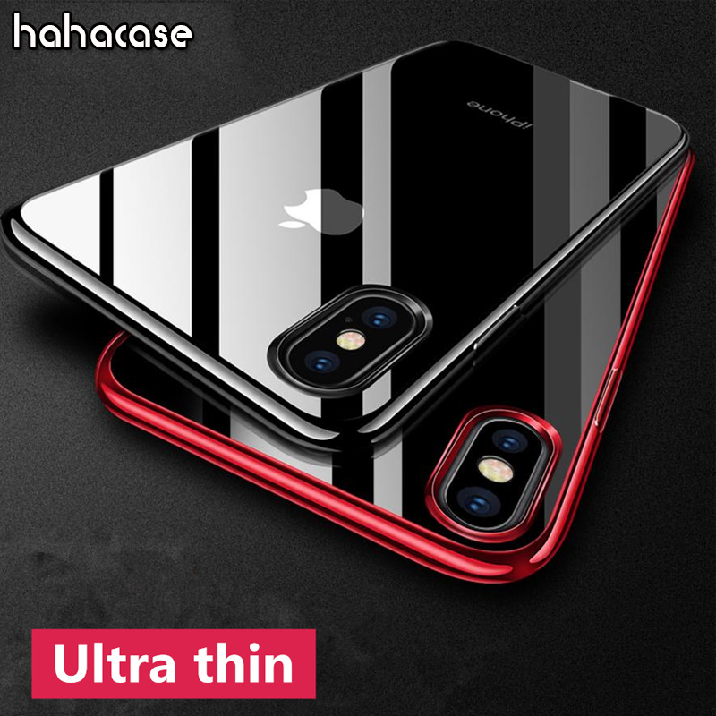 100pcs Ultra Thin Clear Rubber Plating Electroplating TPU Soft Shockproof Case For iPhone XS Max XR X 8 7 6 S Plus SE 5 S Cover