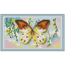 14/16/18/27/28 Butterfly animals painting counted Cross Stitch Set DIY DMC Cross-stitch Kit Embroidery Needlework home decor(China)