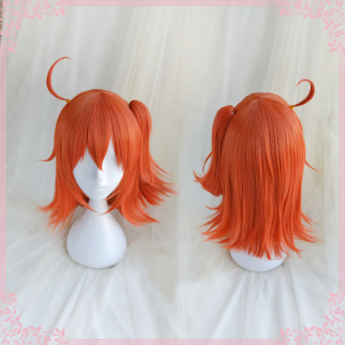 FGO Fate Grand Order Cosplay Wig Fujimaru Ritsuka Orange Straight Pigtail Synthetic Hair for Adult