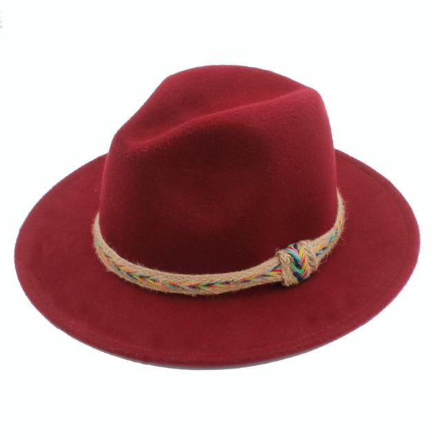 5881a77543e Wool Women Men Fedora Hat For Gentleman Lady Gothic Wide Brim Jazz Church Hats  Godfather Sombrero Cap Size 56-58CM