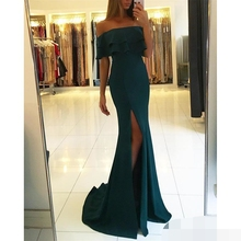 2019 Elegant Backless Split Evening Dresses robe de soiree Off Shoulder Mermaid Side Slit Prom Gowns Cheap evening Dress
