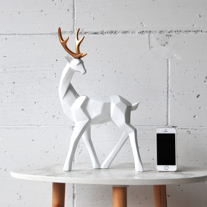 Gold Ear Milu Deer Reindeer Figurine Ornament Home Office Stylish Living/ Study Room Table Art Decoration Resin Craft X'max Gift