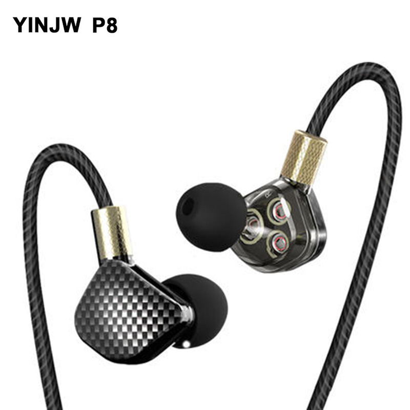 YINJW P8 Three Dynamic Driver System Speakers super bass HIFI Stereo in ear earphone earbuds sports headsets with microphone tebaurry tb6 dual unit driver earphone wired hifi stereo earphone for phone iphone 4 speakers super bass headset with microphone