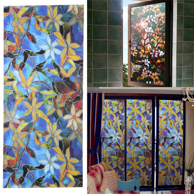 Ls4g 45x100cm Magnolia Privacy Window Film Decorative