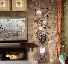 Красивая Ваза торшер Краткое моды дом освещение ручной проволока алюминиевая напольная свет Красный, золотой, фиолетовый, серебристый, черный светодиодные Лампы