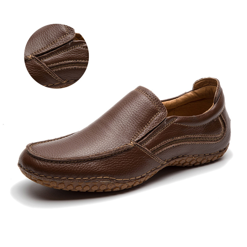 LINGGE/мужская кожаная обувь г. Мужская обувь из натуральной кожи, Размер 40-45 коричневые Свадебные модельные туфли оксфорды на шнуровке,#530-2 - Цвет: brown slip on