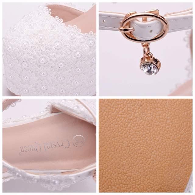 ec9db52e39e US $38.98 25% OFF|Crystal Queen 13CM Platform Wedges Pumps High Heels Shoes  Women White Lace Wedding Heels Round Toe Platform Shoes High Wedges-in ...