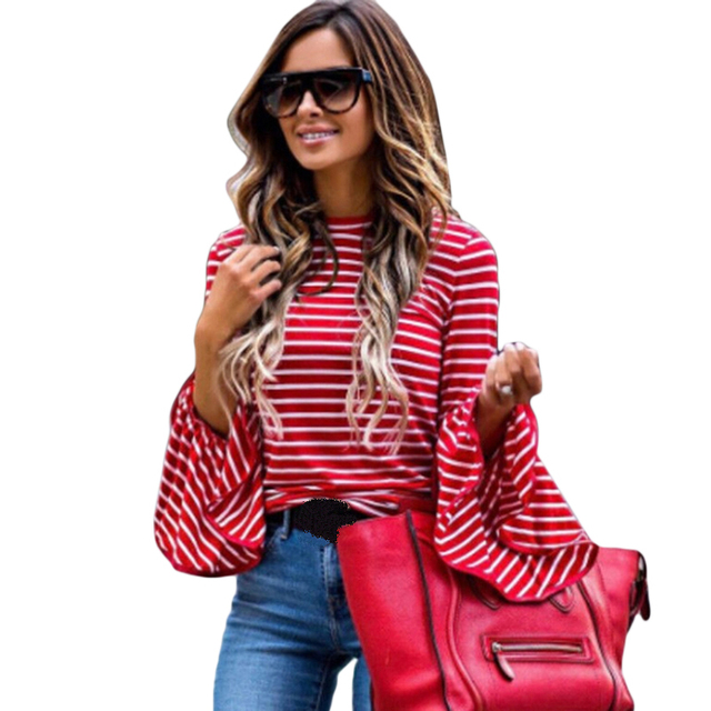 Women Vintage White Red Striped Blouses Cotton Blend Tops Retro Roupas Flare Sleeve Fashion 2018 femininas Shirts Femme Clothing