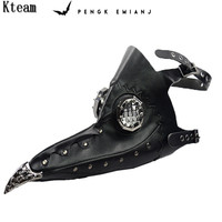 New Steampunk Upgrade Faux Leather Plague Doctor Masks Cosplay White And Black Bird Long Beak Masks Halloween Carnival Costumes