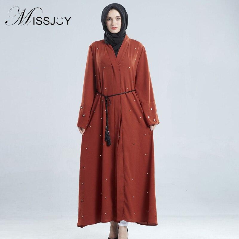MISSJOY Abaya Cardigan robe musulmane style islamique femmes manches longues perles moyen-orient dubaï hiver turquie prière Long Kimono