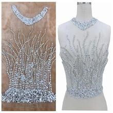 Ручная работа серебряные пришивные стразы аппликация на белой сетке кристаллы нашивки Обрезка 44*30 см аксессуар для свадебного платья