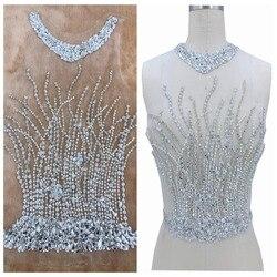 Ręcznie robiony srebrny szyć na peal aplikacja ze strasu na biała siatka kryształowe łaty przycinanie 44*30cm na akcesoria do sukienki ślubnej