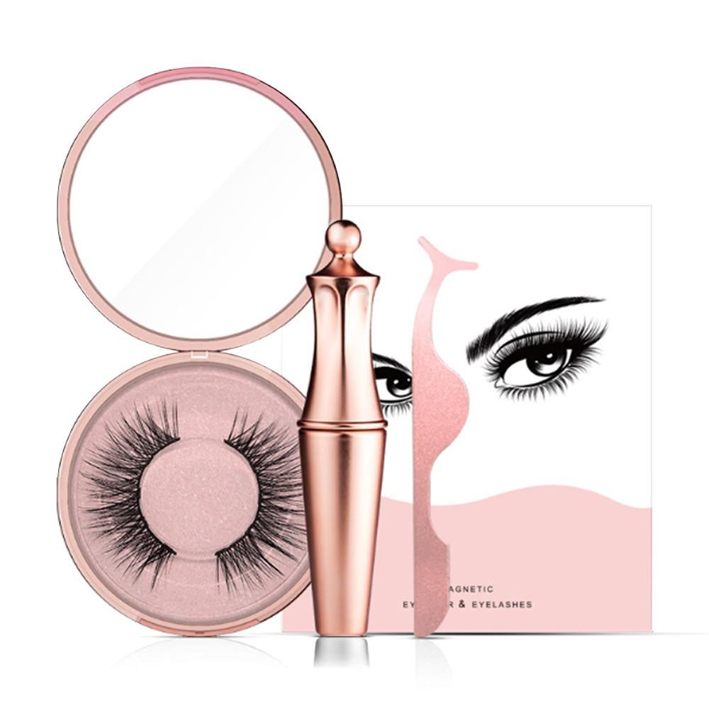 Magnetic False Eyelashes No Glue Full Eye 5 Magnet Reusable Fake Eyelashes Natural Soft Eyelashes Extension Magnetic Eyelash Kit