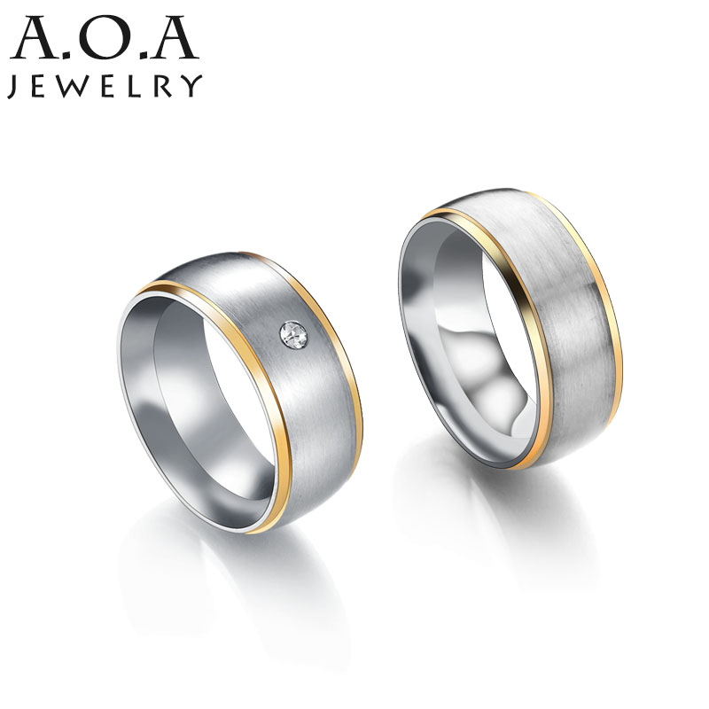 hot sale stainless steel simple couples rings set gold steel color trim love promise rings - Simple Wedding Ring Sets