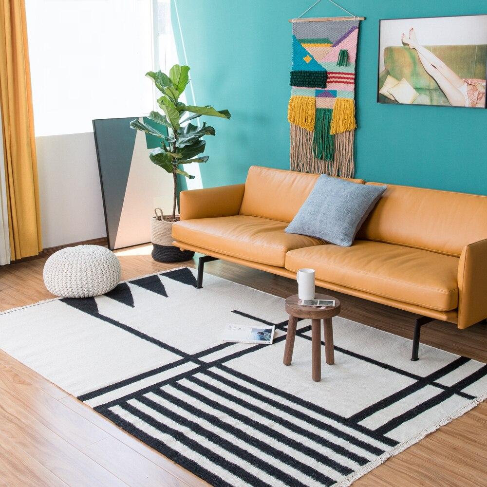 100% lana Kilim alfombra geométrica Bohemia India alfombra a cuadros blanco y negro a rayas moderno diseño contemporáneo irán Estilo nórdico