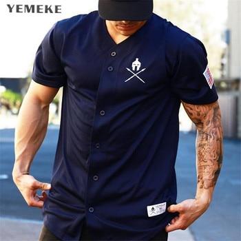 YEMEKE Gyms T shirt Brand Clothing Fitness T-shirt compression Short Sleeve Tshirt Bodybuilding Workout Tee-shirt