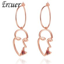 ERLUER Dangle Earrings for women Fashion openwork rose gold red heart crystal kiss jewelry Girl zircon summer earring jewellery(China)