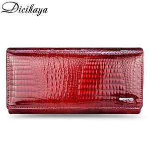 Image 2 - DICIHAYA ของแท้หนังกระเป๋าสตางค์ผู้หญิง Fallow ยาวคู่ซิปกระเป๋าสตางค์คลัทช์กระเป๋ากระเป๋าถือสีแดงจระเข้กระเป๋า