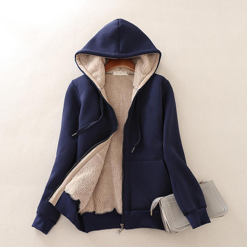 Plus Velvet Lamb Sweatshirt Women Oversize Hoodies Jacket Long Sleeve Sweatshirt Sportswear Warm Long Sleeve Hooded Jacket Q1729