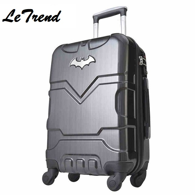 LeTrend 2024 28 Inch Batman ABS +PC Luggage Boarding Password Hardside Luggage Rolling Trolley Suitcase For Hero Fans wholesale 24 inch abs pc red cartoon hardside suitcase good quality fashion universal trolley luggage gift for girl euro style