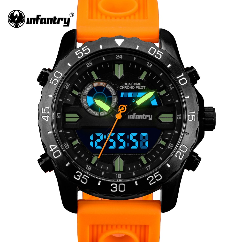 INFANTRY Mens Quartz Wristwatch Military Luminous LED Display Sports Watch Aviator Army Luminous Men Watches Durable Rubber 2017