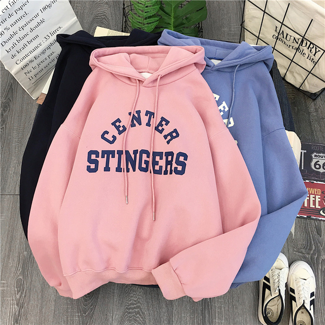 Zuolunouba High Street Knit Hooded Letter Lady Fleece Pullovers Ins Style Add Velvet Thick Sweater Women Autumn Winter Clothes 8