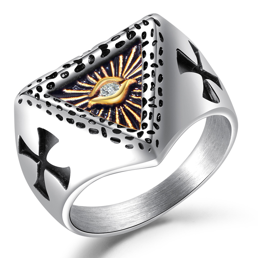 Stainless Steel Eye Design Rings Gold Color Men's Bands Retro Cross Titanium Steel CZ Stone Crystal Ring