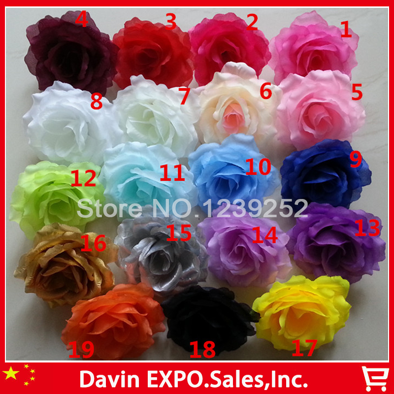 Yoshiko 500PCS/Lot 19Colors 10CM Artificial Rose Silk Flower Heads fake Flowers for Wedding Home DIY Party Banquet Decoration-in Artificial & Dried Flowers from Home & Garden    1