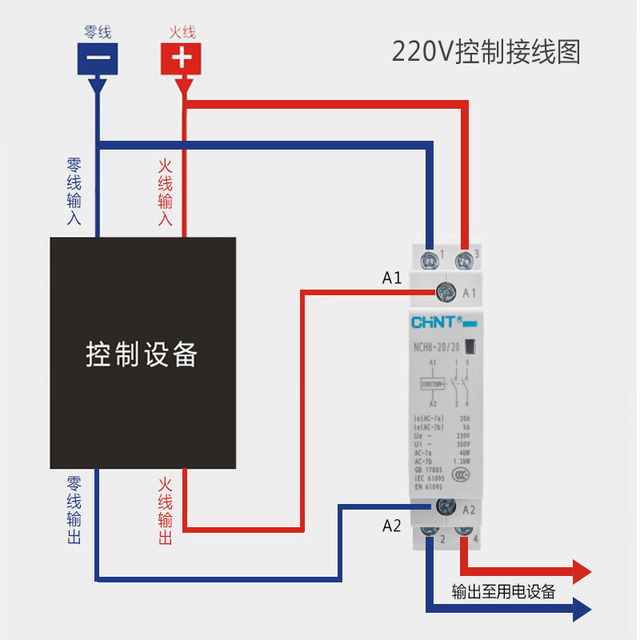 CHINT Mini single-phase Household Modular AC contactor 220V Din Rail Type NCH8-20/20 2 normally open 20A Ann 2P