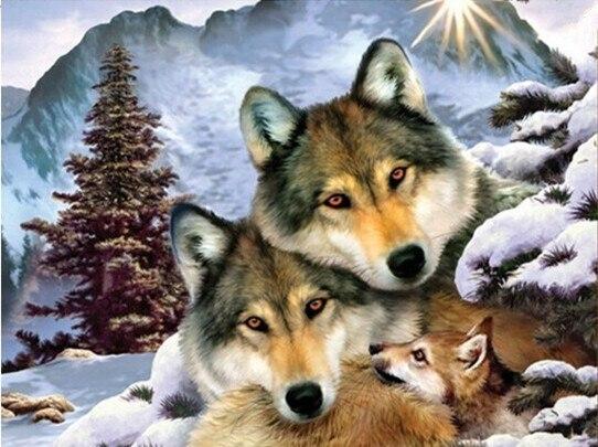 Новый мозаика полный разложены алмаз живопись вышивка Зима Волк Семьи Животных из бисера вышивки крестом картины ручной работы декора стен