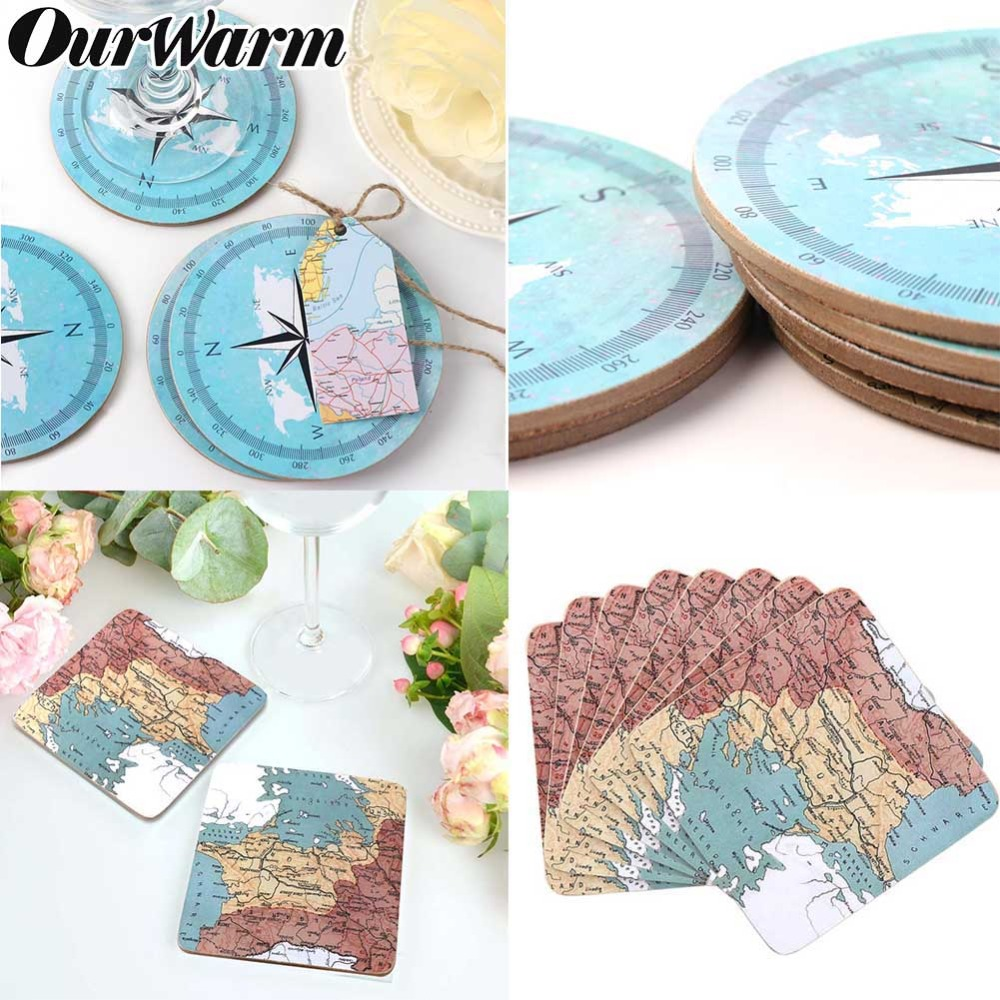 OurWarm Absorbent Natural Cork Coaster World Maps Compass Placemat Drink Cup Mat Coffee Tea Tablemat Heat-resistant Cup Coaster image