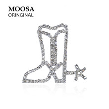MOOSA Hollow Out Design Broches Western Cowboy Shoes Rhinestone Brooches for Women Girls Hijab Pin fit Scarf Hats