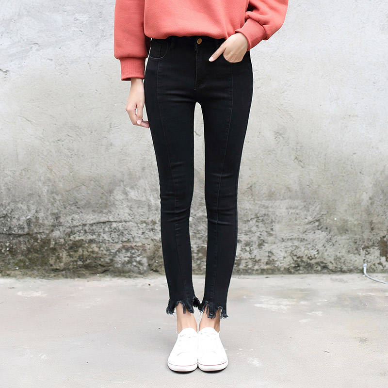 Skinny Stretch Black Boyfriend Jeans Female Winter Long Denim Pants in Leg Opening Slit Tassels Women Slim Bottom Pencil Pants