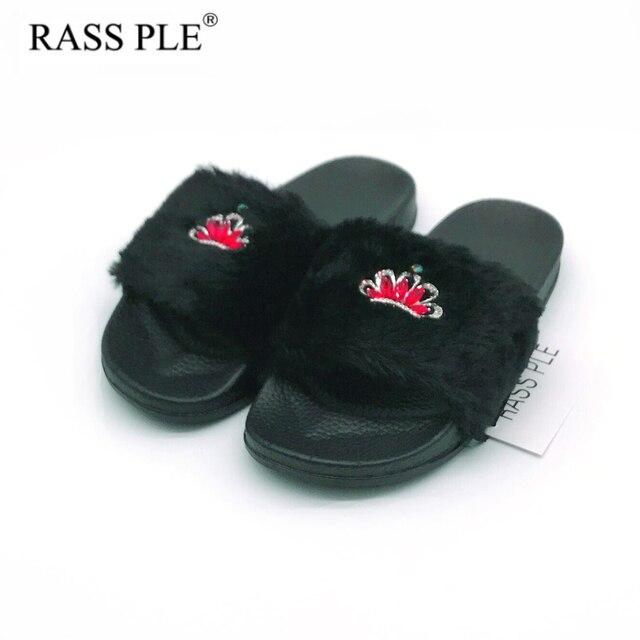 f923a3e6f520 RASS PLE 2018 New Women Fluffy Fur Slippers Spring Summer Autumn Crown  Slippers Rhinestone Flip Flops Comfortable Flat Shoe