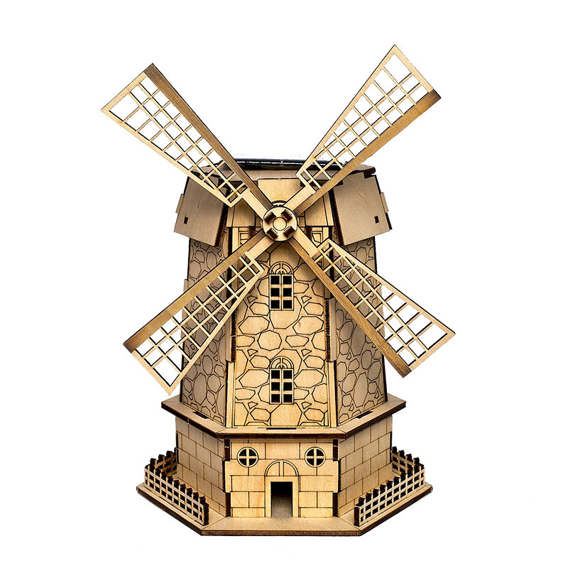 Diy Solar Wooden 3D Puzzle The Dutch windmills Miniature Model Toy Creative Gift Arranging Furniture For Children Toys