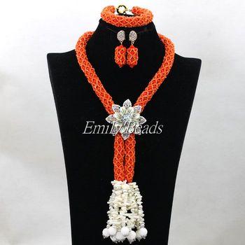Beautiful Orange Nigerian Wedding Crystal Necklace Jewelry Set Handmade Costume African Beads Jewelry Set Free Shipping ALJ312