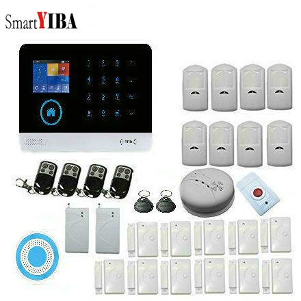 SmartYIBA Wireless GSM&WIFI Smart Home Security Alarm Systems Kits Infrared Motion Sensor Door/Fire Detector Alarm System