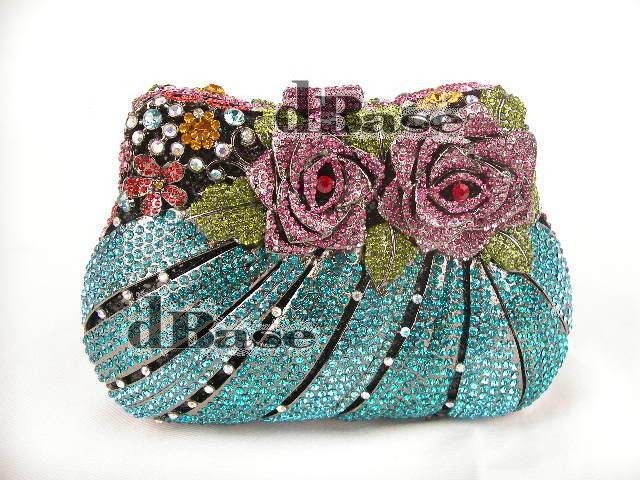 #8210 Crystal color-A ROSE Flower Floral Wedding Bridal Party Night hollow Metal Evening purse clutch bag case handbag