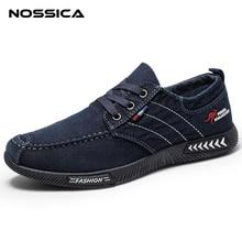NOSSICA модные джинсовые Для мужчин повседневная парусиновая обувь мужские летние Для мужчин кроссовки слипоны дышащая обувь Лоферы Мужская обувь черный