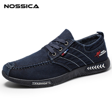 NOSSICA Fashion Denim Men Canvas Casual Shoes Male Summer Mens Sneakers Slip On Breathable Shoes Loafers Chaussure Homme Black