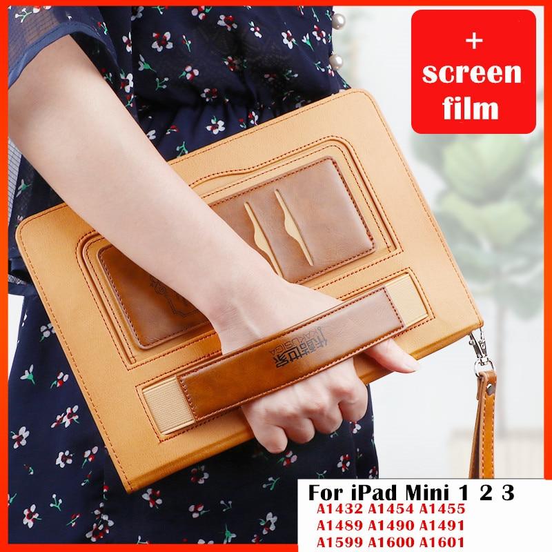 Case for iPad Mini2 mimi3 ,Premium PU Leather Folio Pocket Strap Auto Wake Smart Cover case For iPad mini 1 2 3 tablet case
