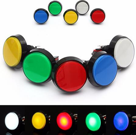 5 Colors LED Light Lamp DC12V  60MM Big Round Arcade Video Game Player Push Button Switch free ship lucky john croco spoon big game mission 24гр 004