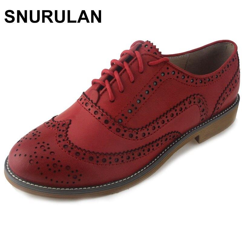 SNURULAN Genuine Leather Shoes Women Brogues Oxfords Flat Heels Round Toe Handmade Women Casual Shoes Plus Size 42 Delicate Shoe цены онлайн
