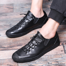 RUIDENG pria kasual sepatu fashion Kulit Asli Laki-laki mode Datar dengan renda-up kulit sapi hitam solid bernapas kualitas tinggi