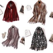 Leopard 15style women cashmere scarf winter warm scarves for lady pashmina shawls wraps Leopard Print warm bandana red green