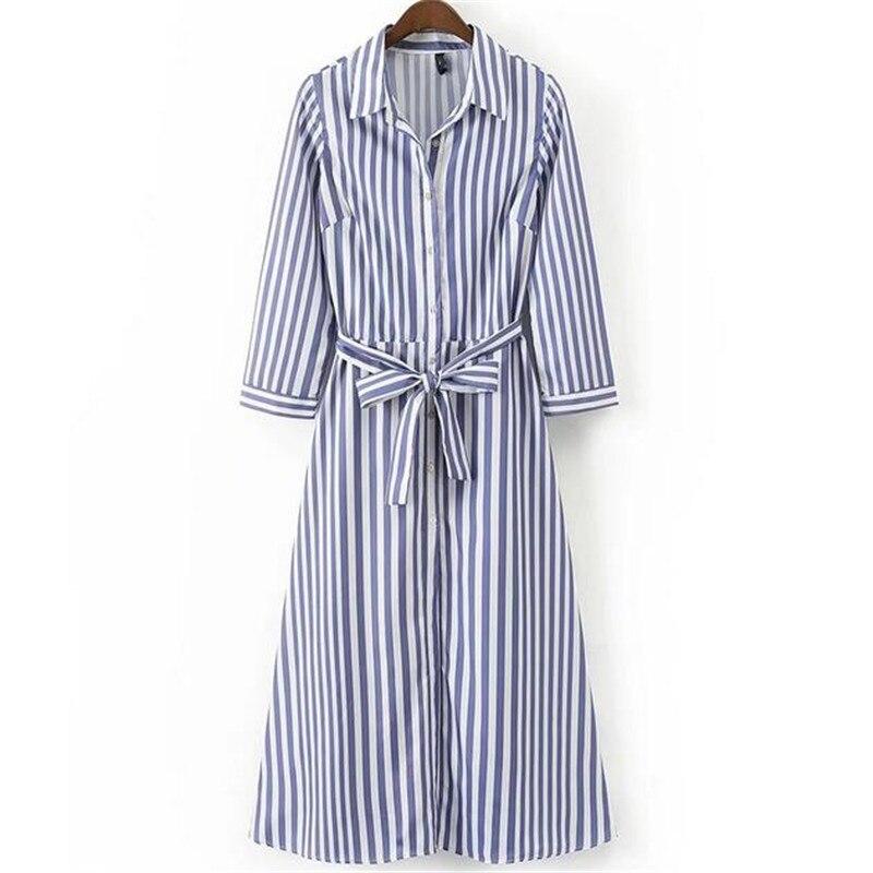Lange blauw wit gestreepte jurk vrouwen jurk met sjerpen